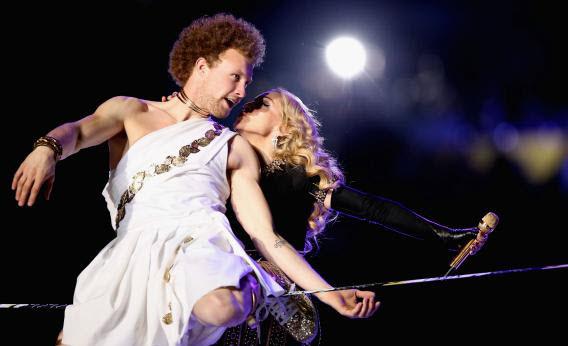 120211 Madonna and Sketchy Andy at the Super Bowl